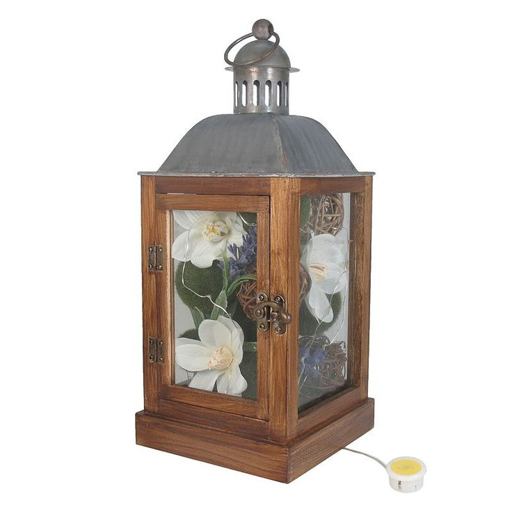 SONOMA Goods for Life™ Farmhouse Artificial Flower Light-Up Lantern Table Decor, Multicolor