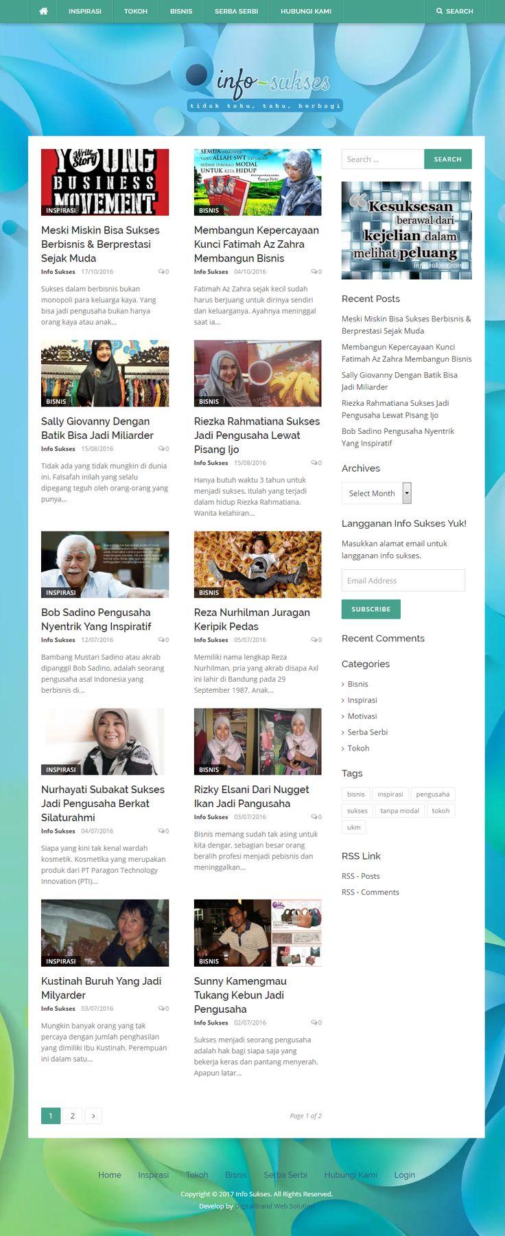 Info Sukses. Website Blog yang berisi informasi motivasi dan ide bisnis.