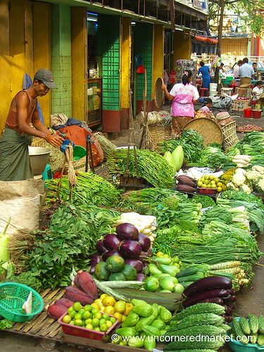 Greens and Vegetables at Market - Rangoon, Burma