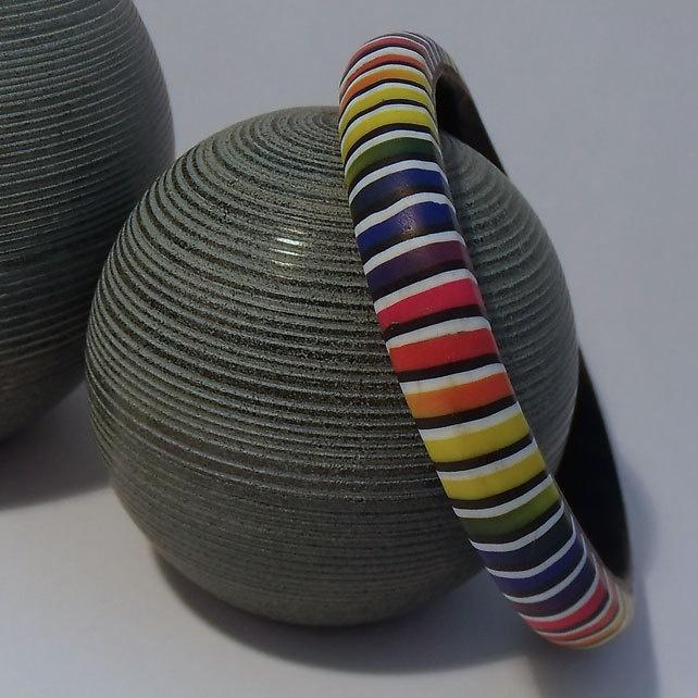 Rainbow Stripe Bangle in Polymer Clay