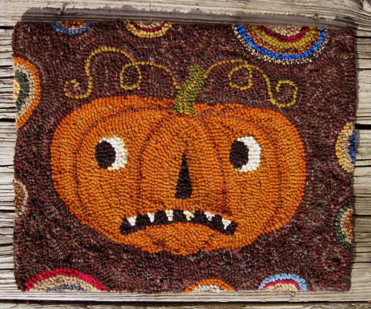 PRIMITIVE FOLK WOOL HOOKED RUG / HALLOWEEN PUMPKIN #2 ***SALE!*