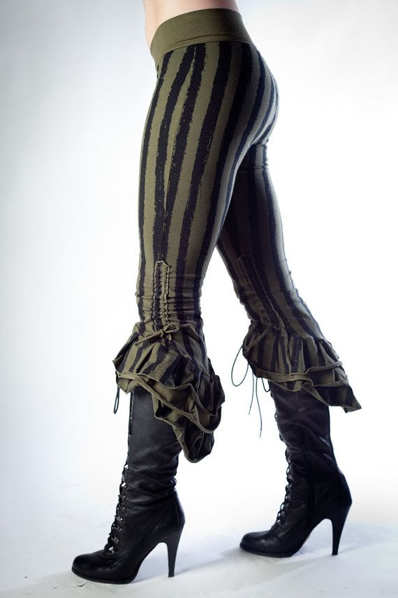 Steampunk Victoriana Sage Striped Ruffle Capris by PhoenixLanding, $130.00 - really cute to wear by themselves or under a short skirt