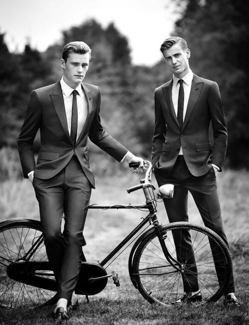 Dapper men dressed in modern black tie