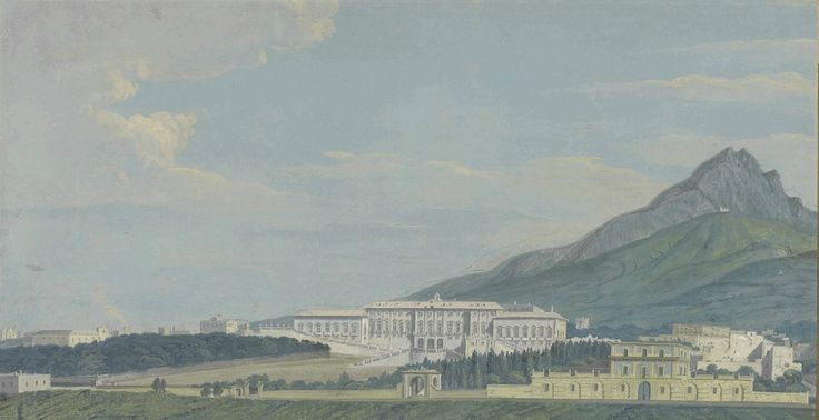 Xavier della Gatta (active Naples 1777-1829) View of the Palazzo Reale of Portici near Naples, with Monte Somma in the background