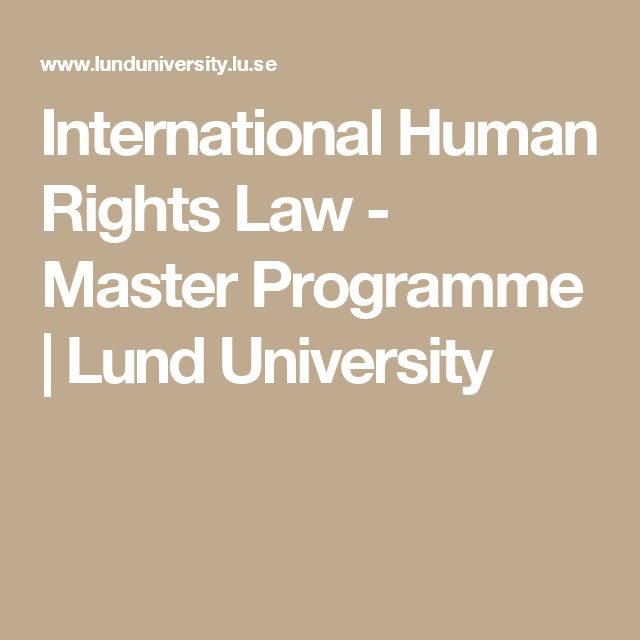 International Human Rights Law - Master Programme | Lund University