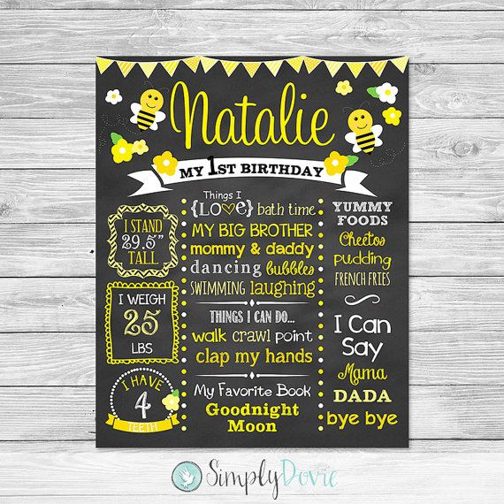 Hey, I found this really awesome Etsy listing at https://www.etsy.com/listing/224410070/bumble-bee-first-birthday-chalkboard