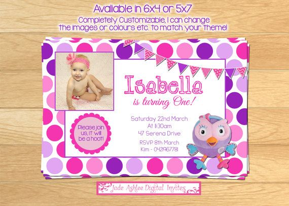 Girls printable Hootabelle invitation, 1st Birthday- Photo on Etsy, $8.00 AUD
