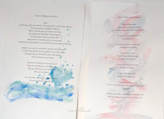 Wedding Vows x 2, custom wedding vows, personalised scroll, civil ceremony,  hand-fasting promises, renewal of vows, dedication ceremony,  I like the scroll idea for the reading of the vows.  I love the water colour paper treatment but not sure I could DIY it myself. Any insight?  advice?  Simple directions?
