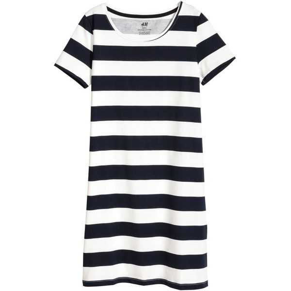 T-shirt Dress $12.99 found on Polyvore featuring dresses, short-sleeve dresses, striped dresses, t shirt dress, stripe dresses and white jersey