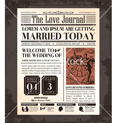 64 best classic newspaper design images on pinterest journal vintage newspaper wedding invitation template vector by kraphix on vectorstock saigontimesfo