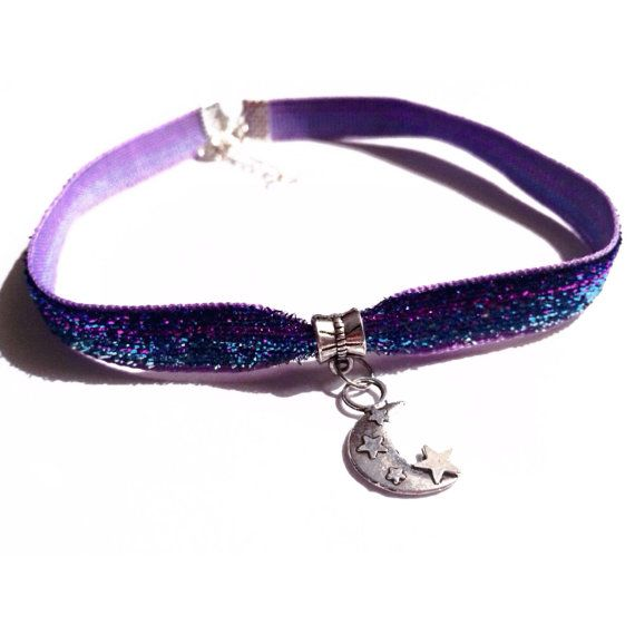 Awesome gradient purple and blue glitter choker. Silver moon charm.    3/8 ribbon. Approx 10-11 in length (not including clasps).  lobster clasp and