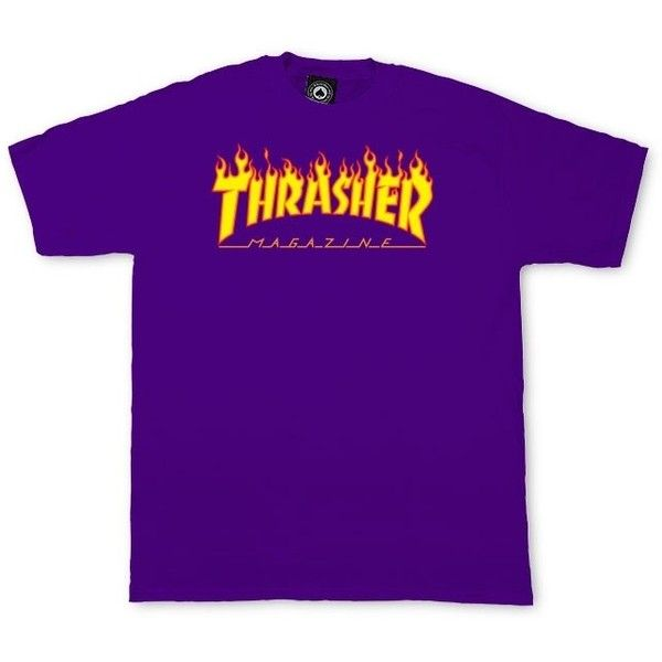 Thrasher Flame Logo T-Shirt ❤ liked on Polyvore featuring tops, t-shirts, cotton t shirts, logo t shirts, purple top, logo top and purple tee