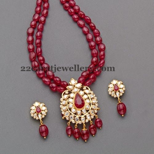 Jewellery Designs: Cabochon Rubies Strings Long Set
