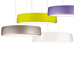 The Ercole fixture from Targetti brings a pop of color to a normal pendent light