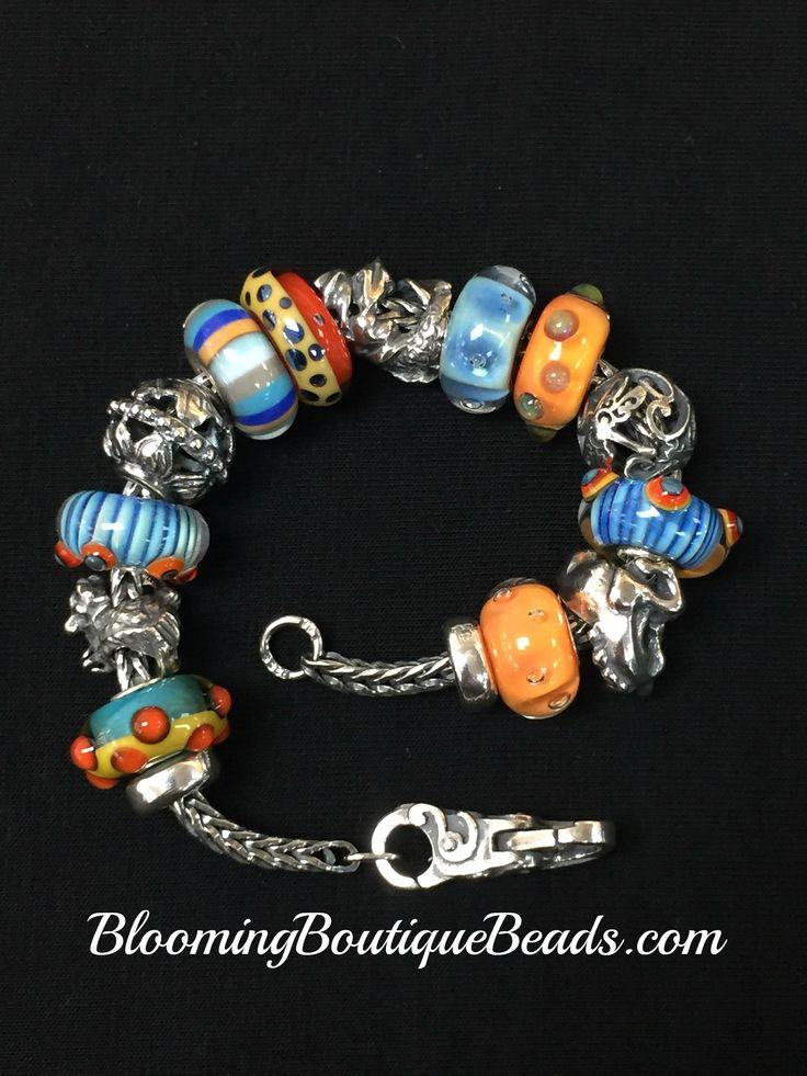 Blue & Orange!  Loving Gail Crosman Moore's New Autumn Beads! #Trollbeads #Trollbeadsatthebeac