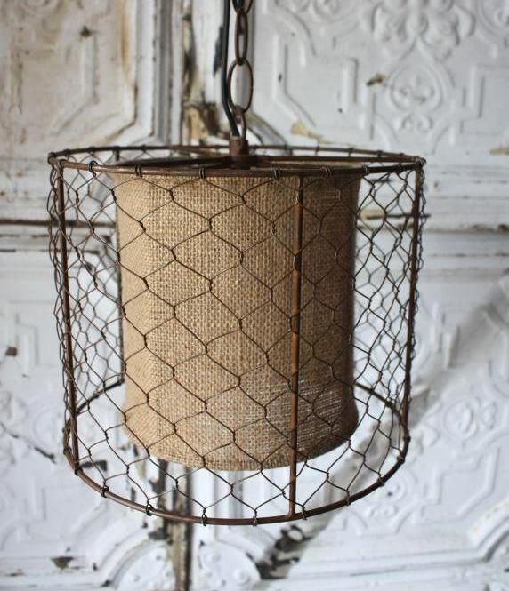Chicken Wire Burlap Rustic Swag Lamp Plug In or Direct Wire Pendant Light  Vintage Primitive Farm - Get 20+ Plug In Pendant Light Ideas On Pinterest Without Signing