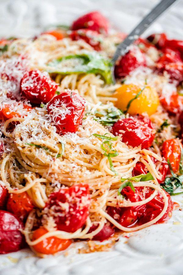 Spaghettini with Roasted Tomatoes, Fresh Basil, and ...