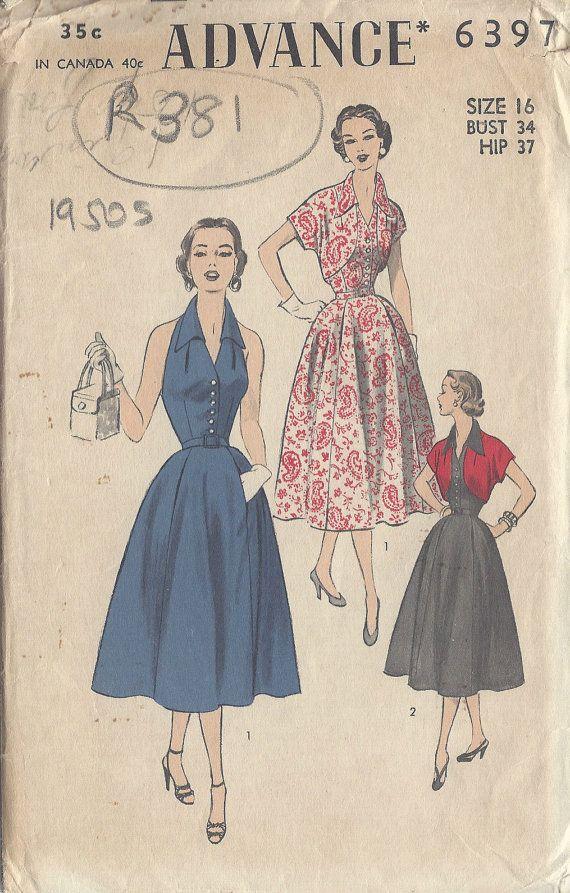 1950s Vintage Sewing Pattern B34 HALTERNECK DRESS &