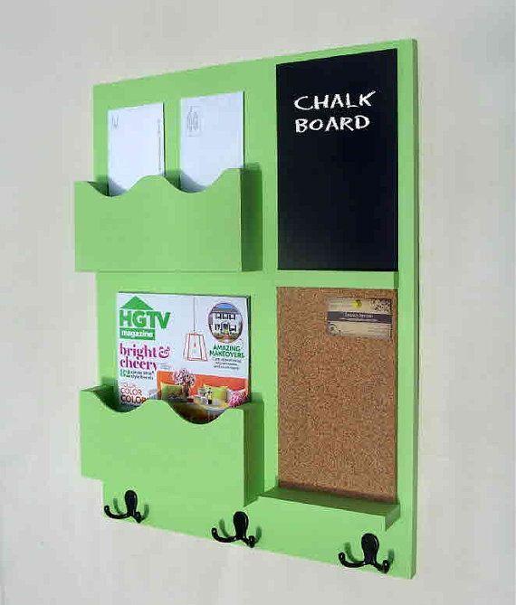 Mail Organizer - Cork Board - Chalkboard - Coat Rack - Key Hooks - Coat Hooks - Jar Vase - Wood via Etsy