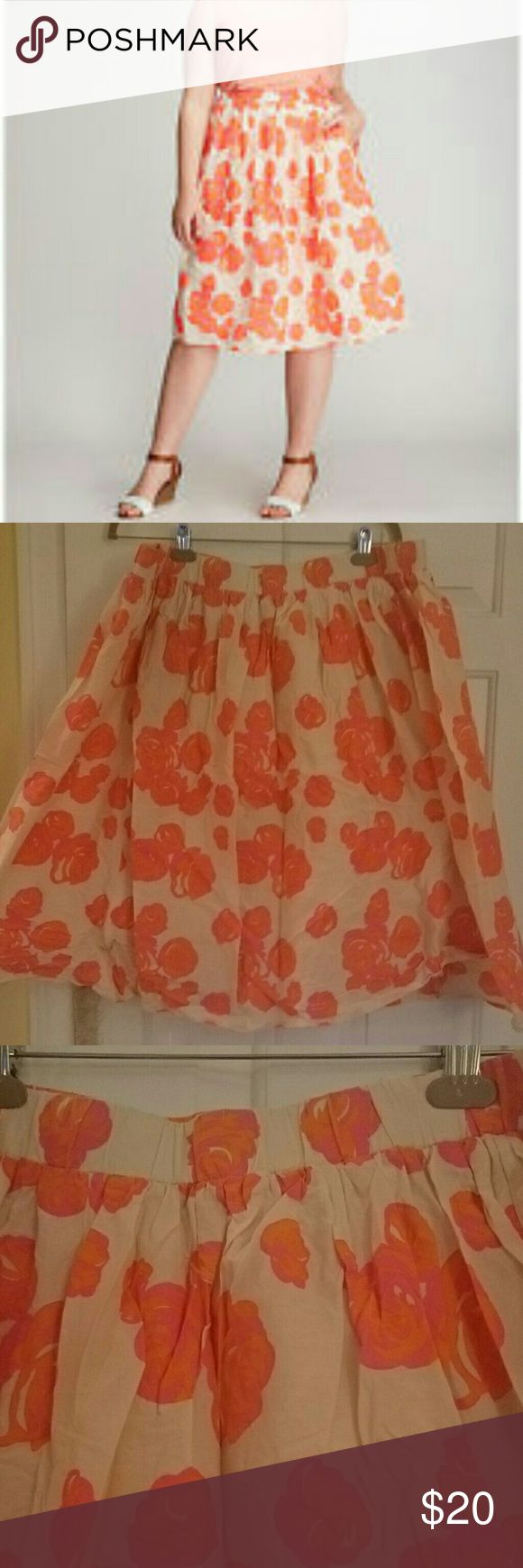 Layne Bryant A-line Midi Skirt Pink and orange floral circle skirt! Only worn a few times. 18/20 elastic waist layne Bryant  Skirts Midi