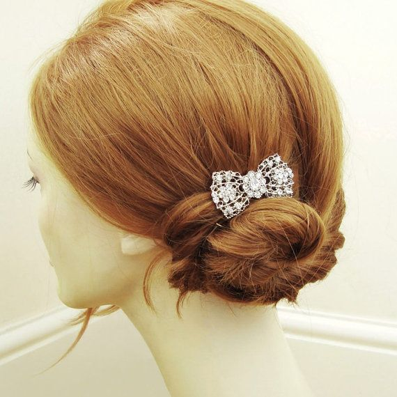 SET of TWO Vintage Rhinestone Bridal Hair Combs Art by luxedeluxe