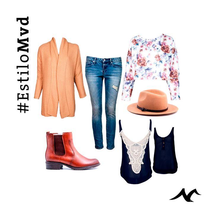 ¡Un look para las tardes de Otoño con #EstiloMVD! Sombrero, Buzo de flores y saco de Forever 21; Jean de Gap; Musculosa de Lemon; Botas de Pasqualini