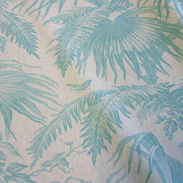 Weiteres - Stoff Meterware Baumwolle natur türkis Dschungel - ein Designerstück von werthers-stoffe bei DaWanda