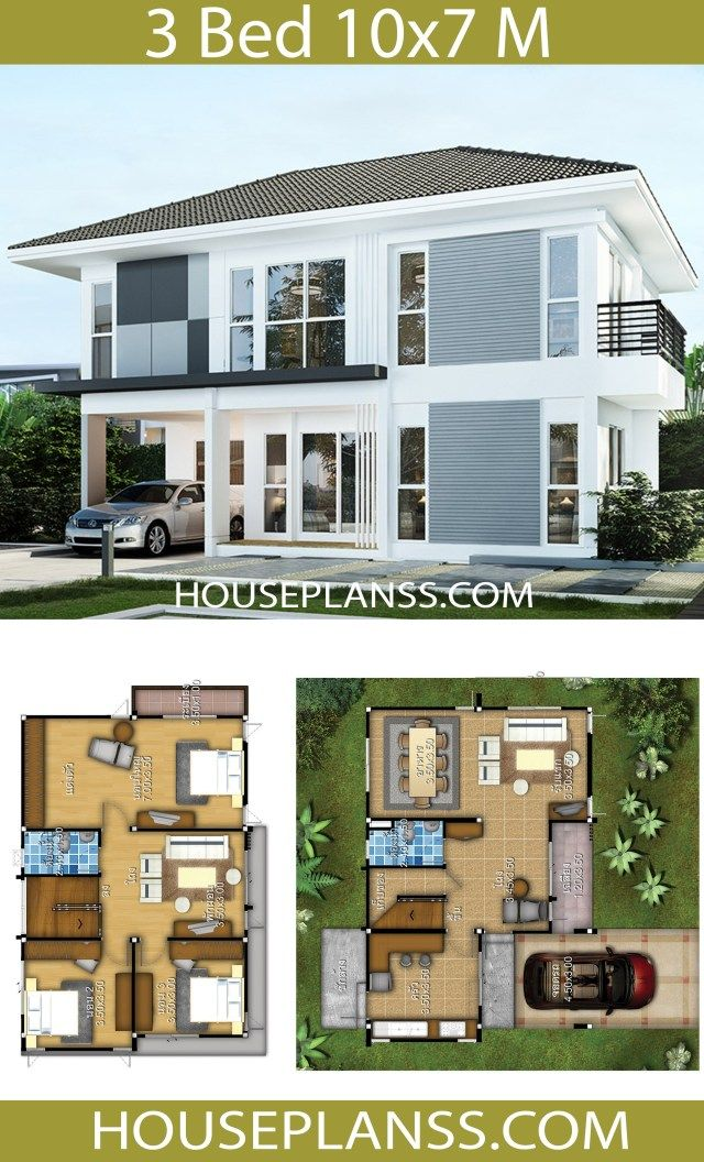 House Design Plans Idea 10x7 With 3 Bedrooms Home Ideassearch Vacation House Plans Model House Plan Architectural House Plans