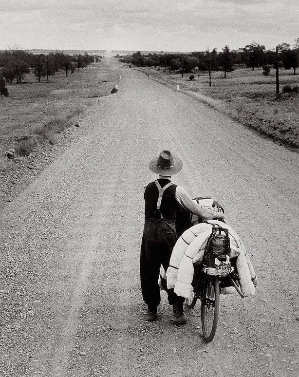 Swagman on the road to Wilcannia, New South Wales, (1953, printed 1982) by Axel Poignant :: The Collection :: Art Gallery NSW