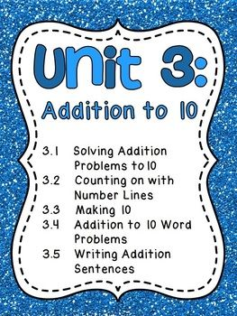 This fun and differentiated JAM-PACKED unit is filled with everything you need to teach adddition to 10. This pack comes with 5 standards/concepts: addition to 10, counting on using numbers lines with sums to 10, making 10, solving word problems with sums to 10, and writing addition number sentences for word problems.  **Please click the green PREVIEW button above** It will give you a free look at all that's included!