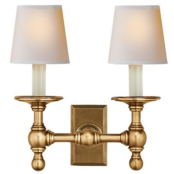 visual comfort studio sandy chapman twolight classic double library sconce in handrubbed antique brass