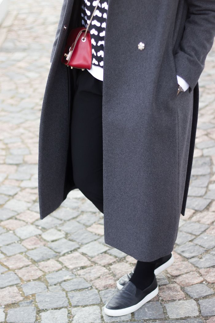 Red Furla Metropolis bag, black / white Marimekko sweater, long grey wool coat / www.livinupanotch.com