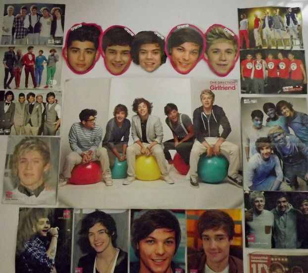 One Direction Posters on Bedroom Wall - Check out how to create the best One Direction themed bedroom ever!
