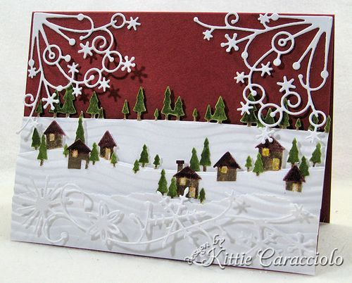 KC Poppy Stamps Pine Tree Border 1 right: Snowy Pine, Trees, Christmas Card, Landscape, Stamps Pine, Tree Border
