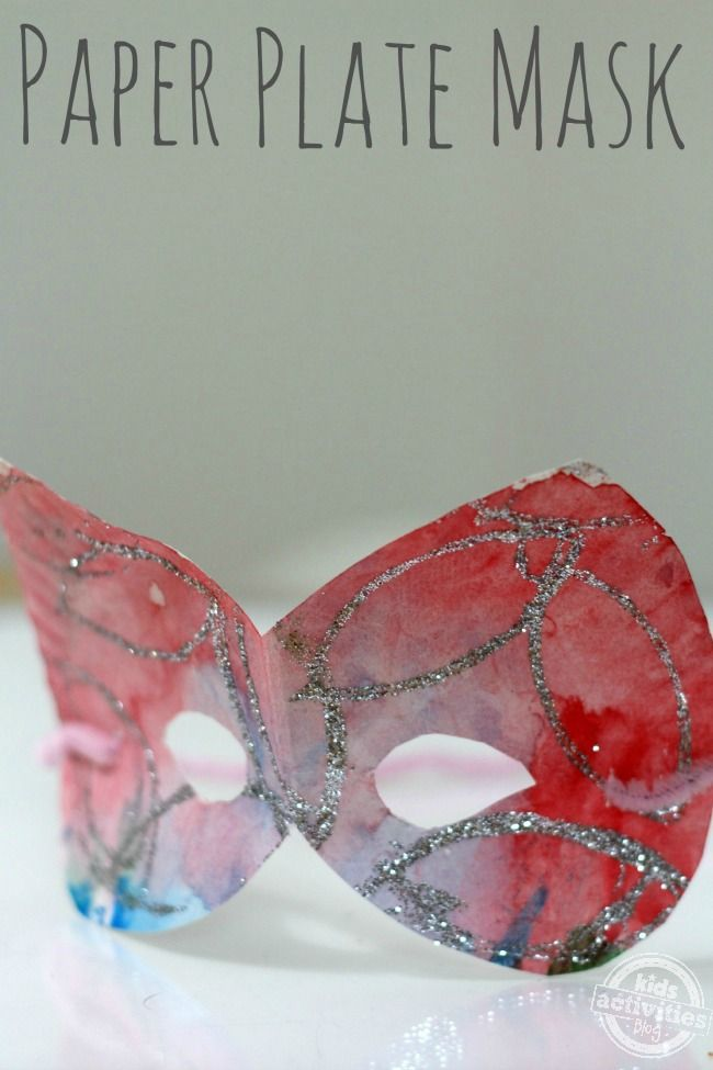 How to Make Paper Plate Masks- another cute quick idea...cut mask out of plate, water color, stamp with tp roll w glue, sprinkle on glitter, pipe cleaner for strap