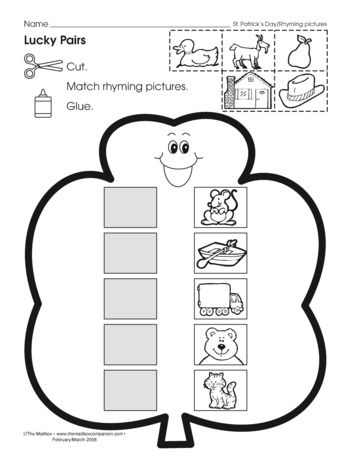 A worksheet for the little ones that reinforces rhyming and builds fine-motor skills. Free at themailbox.com.