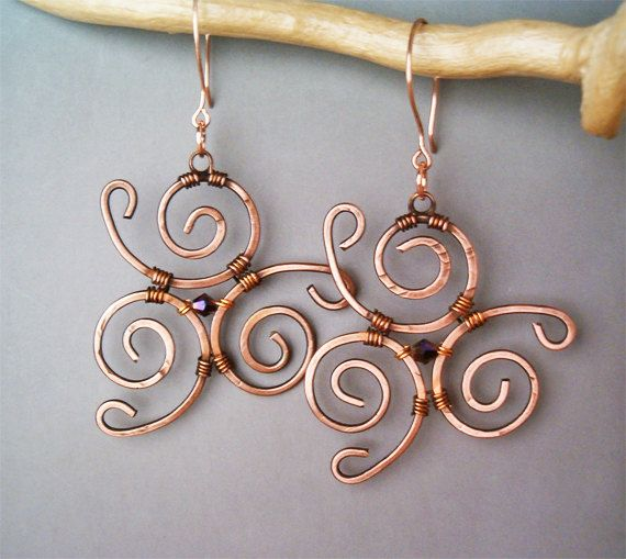 Wire Wrapped Earrings Hammered Copper  Handmade by GearsFactory, €17.00
