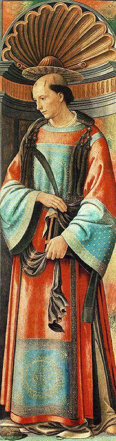 """INVITO in COMMUNITY ARTISTICA CULTURALE Google+ connessa con PINTEREST Blogs artistici personali in Blog """"Dipingere e conoscere"""" CELEBRAZIONI 568° ANNIVERSARIO DOMENICO BIGORDI detto,il GHIRLANDAIO (1449-1494) Foto-dipinto: Santo Stefano - 1490/94 - Museum of Fine Arts, Budapest."""