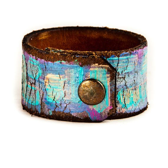 Abstract Painted Leather Cuff Art Upcycled Jewelry by rainwheel, $35.00