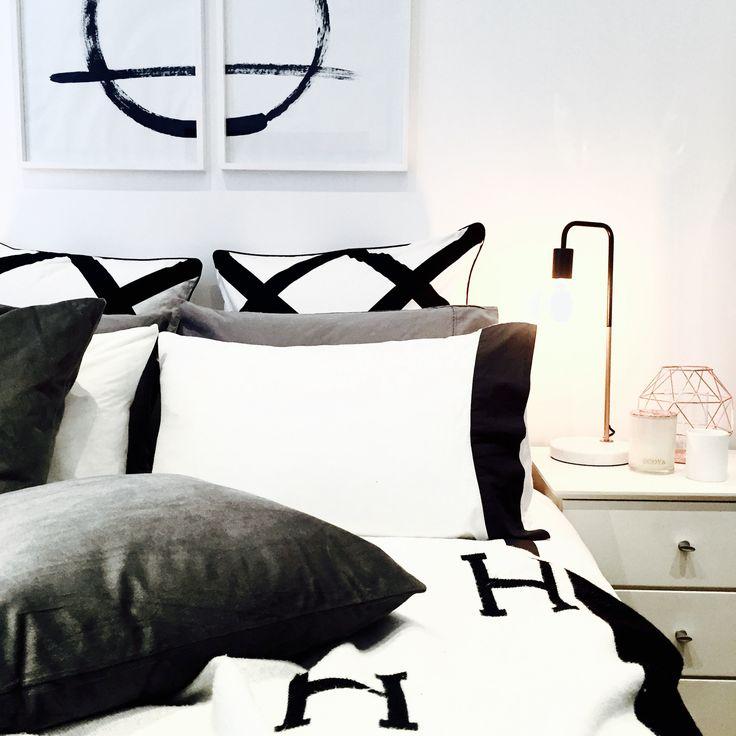 Luxury Monochrome Bedroom | Industrial copper & white marble lamp - Hermes Avalon blanket - Kmart Gray velvet pillows