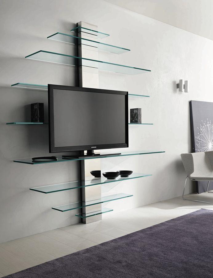contemporary glass and metal TV wall system MONDOVISIONE by G.T.Garatton TONELLI Design