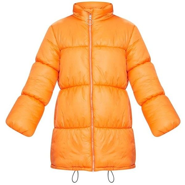 Orange Ring Pull Longline Puffer Jacket ❤ liked on Polyvore featuring outerwear, jackets, long line jacket, orange puffy jacket, puffer jacket, orange jacket and orange puffer jacket