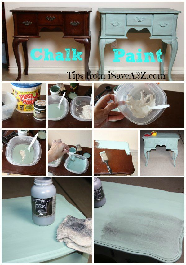 Homemade Chalk paint.  Perfect for furniture!  #Easy #DIY