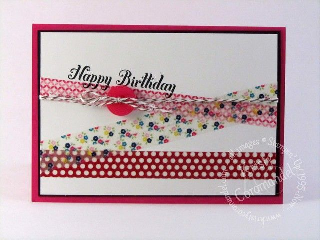 Birthday Card - using Washi Tape.  Dimensions, products and instructions can be found on the blog http://www.kristycoromandel.com/washi-tape-birthday/