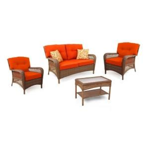 Martha Stewart Living Charlottetown Brown All Weather Wicker 4 Piece Patio  Seating Set With Rust Cushions