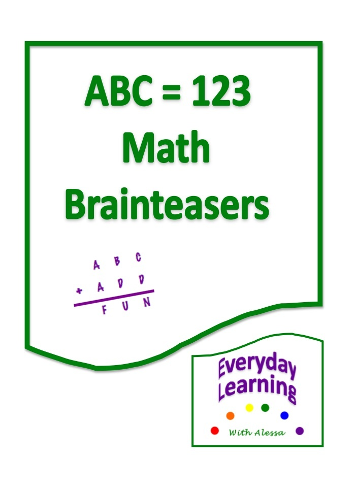 The ABC=123 Brainteasers are math-based logic puzzles called alphametics. They can be used as daily warm-up exercises, challenge problems, or as gifted enrichment. The problems are geared for 5th and 6th graders.    These 14 math puzzles appear deceptively easy at first glance, but they require a great deal of mathematical reasoning to solve. We've included instructional strategies to help ensure student success.
