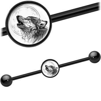 Monochrome Howling Wolf Industrial Barbell