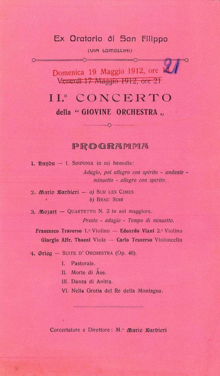 Locandina del secondo concerto della GOG  www.gog.it