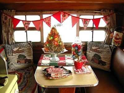 Christmas in vintage trailer!
