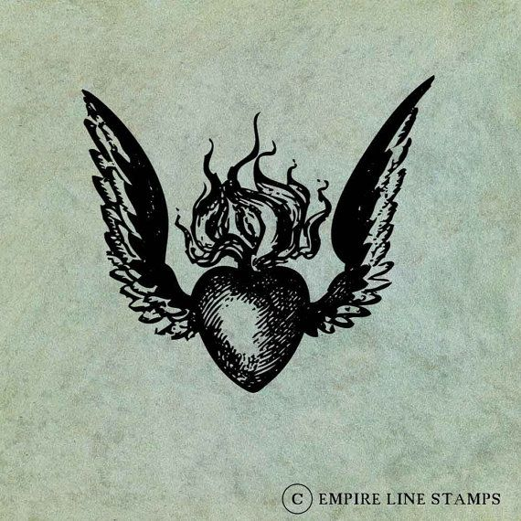 Clear photopolymer stamp featuring an antique style image of a Winged Sacred (Flaming) Heart.  Image measures 2 1/2 x 2 inches or 60 x 50mm.  Stamp is shipped unmounted, so you can use your own acrylic blocks or other mounting system to use the stamp.  Unmounted stamps save on postage and storage space.  Stamp image is shown on old paper background and is indicative of a possible use for this stamp. Purchase includes the stamp only. Actual stamped image is shown in photo #2, along with the…